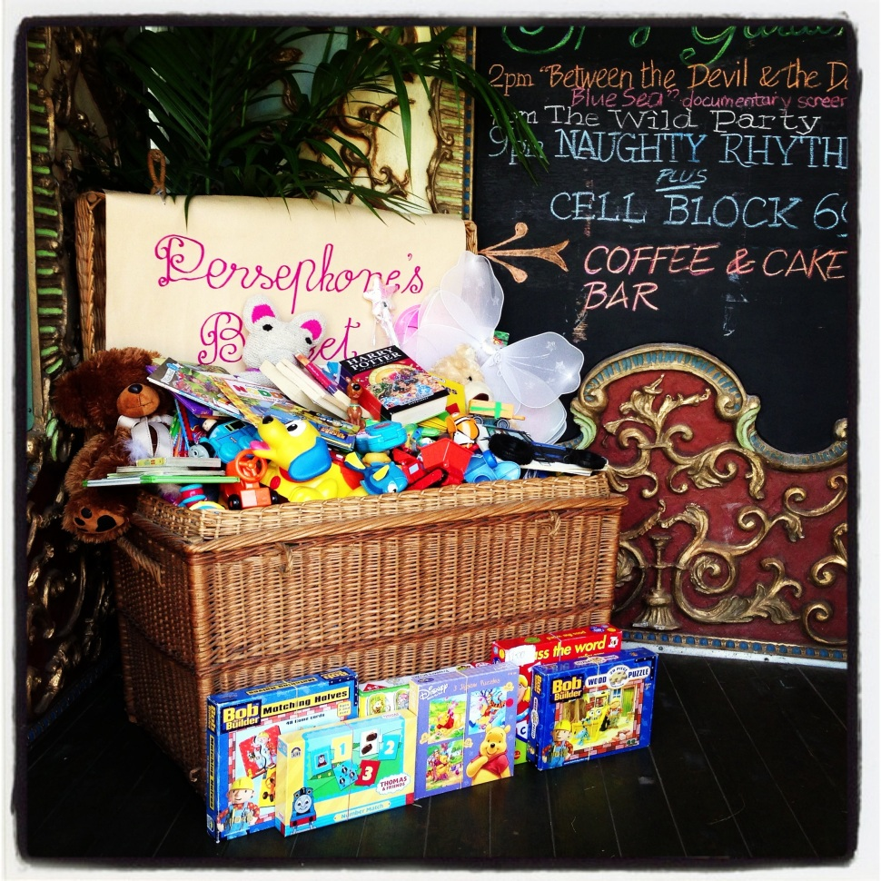 Figure 2: Persephone's Basket – already overflowing with goodies on Day 2 of her donation drive